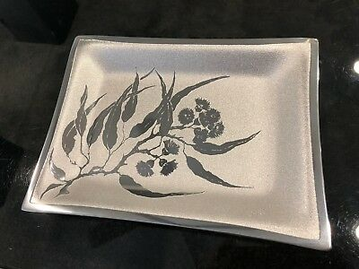 NEW Signed Sheil Abbey Flowering Gum Leaf Rectangular Plate