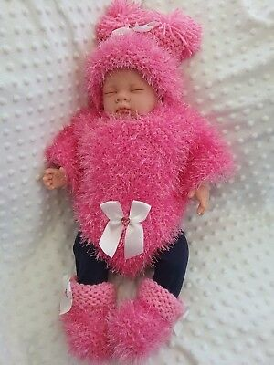 New Hand Knit Pink Glitz Baby Girl Poncho, hat and booties. Newborn  Romany