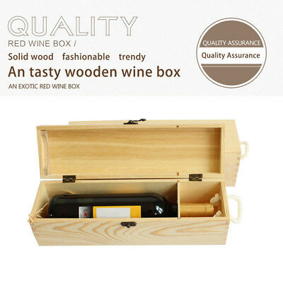 Retro Red Wine Box Portable Gift Pine Wood Wine Storage Box Wine Bottle Case GR