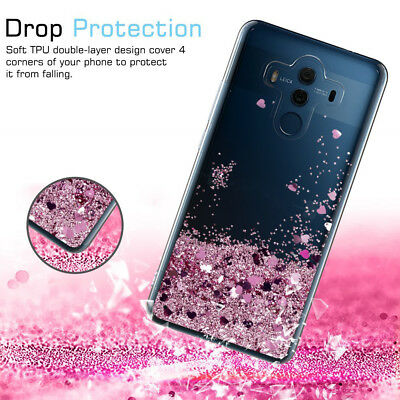 Cute Bling Shiny Moving Quicksand Liquid Soft TPU Protective Case For Huawei