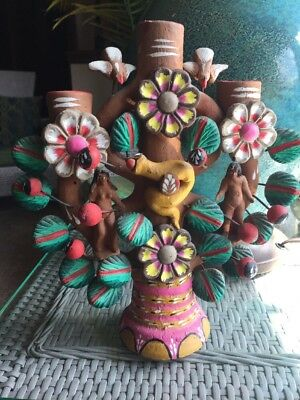 Tree of Life Adam Eve & Serpent Candelabra Hand Made  Mexican Folk Art 10""