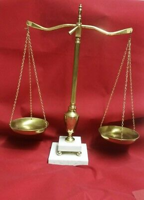 Vintage Balance Scales of Justice Lawyer Scale Brass marble base needs TLC bf