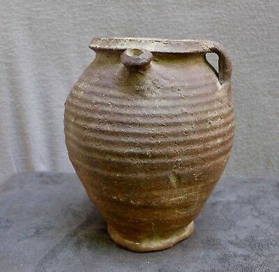 Nice 13th. century German stoneware Siegburg early Gothic jug.