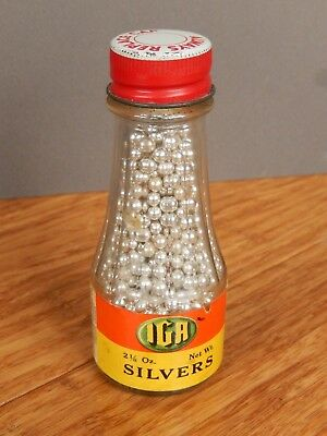 """Vintage IGA grocery store brand SILVERS 4 1/4"""" Glass Bottle"""