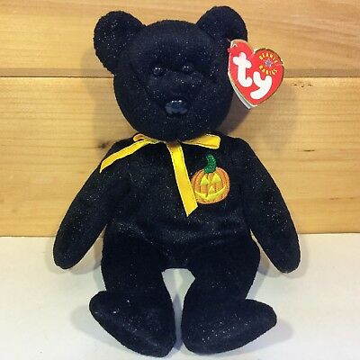 2000/2001 TY Black Sparkle Bear HAUNT Halloween BEANIE BABY PLUSH Stuffed TOY