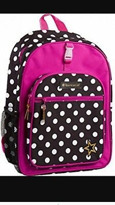NEW- American Girls Backpack Hot Pink with Black And Gray Polka Dots Bag NWT