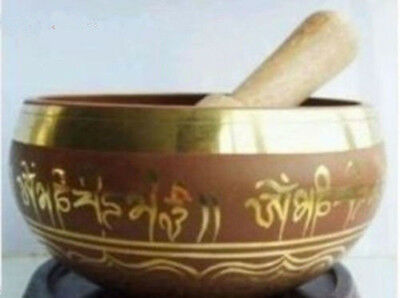 Rare Superb Tibetan OM Ring Gong YOGA Singing Bowl