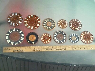 Large Lot Of Vintage Old German Cuckoo Faces / 11 Diff. Sizes Wooden