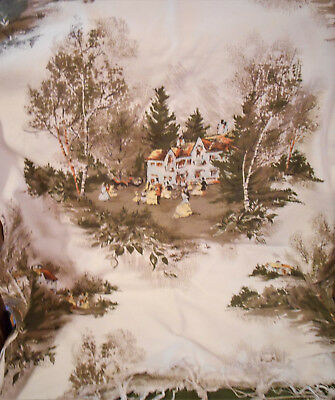 Edwardian 1918 Reception A Fabulous Print Fabric Remnant Textured Linen 46x53""