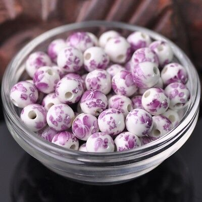NEW 20pcs 10mm Round Smooth Ceramic Loose Spacer Beads Flower Pattern #13