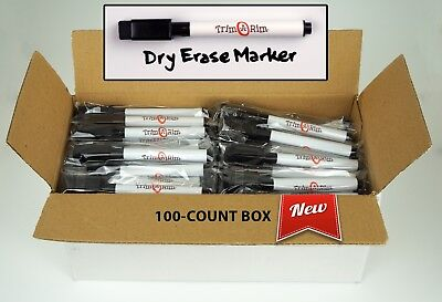 100 Pc Magnetic Dry Erase Markers, Black Ink Whiteboard Pens + Eraser, Low Odor