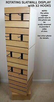 "54""H Rotating Slatwall Display, Assembled, Maple Veneer MDF, with (32) 4"" Hooks"