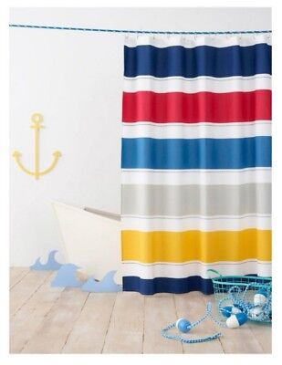 PILLOWFORT BLUE RED YELLOW RUGBY Stripe Shower Curtain 72 X Inch