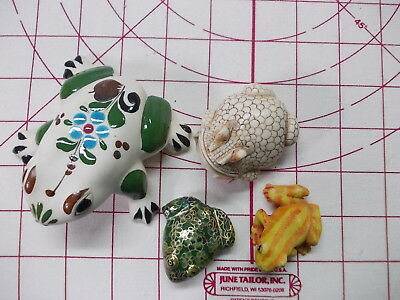 Frog collection lot ceramic - metal - molded resin decorations