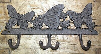 Cast Iron VICTORIAN Style BUTTERFLY Towel Coat Hooks Hat Hook Key Rack Rustic