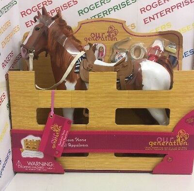 "Our Generation 20"" Appaloosa Trail Riding Horse for 18"" Dolls - New but Marked"