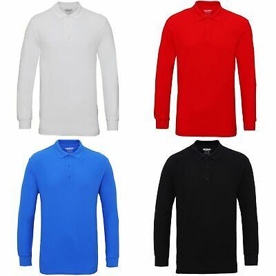 Gildan Mens Long Sleeve Double Pique Cotton Polo Shirt (BC3485)
