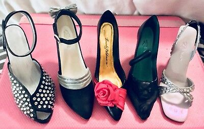 Raine Just The Right Shoe Lot Of 5. Black & Silver Heels. Decorative Resin.