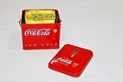 Vintage Collectible Embossed Drink Coca Cola Ice Cold Die Cast Tin With Handle