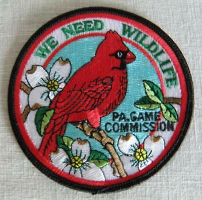 PA Game Commission WE NEED WILDLIFE Patch Red Cardinal Bird Dogwood Blossoms