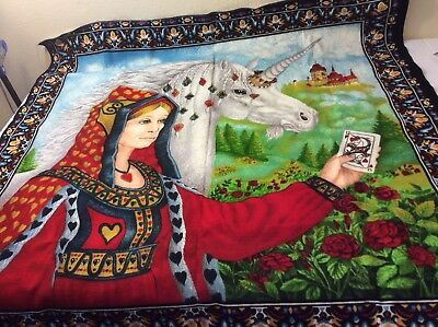 "Vintage Unicorn Queen Cards Rug Tapestry wall Hanging 38""x36"" Medieval ATC NYC"