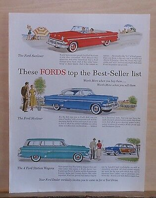 1954 magazine ad for Ford - Sunliner, Skyliner, Station Wagons Top Best Sellers