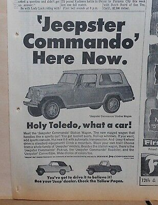 1967 newspaper ad for Kaiser Jeepster - Commando Station Wagon, Holy Toledo!