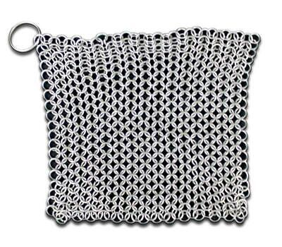 "SE 70038 7""X7"" CHAINMAIL SCRUBBER WITH ""O"" RING cleaning chain mail renaissance"