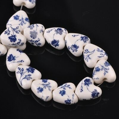 NEW 10pcs 14mm Ceramic Heart Flowers Loose Spacer Beads Findings Pattern #16