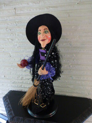 """Large Annalee Halloween Witch Doll 2004 26"""" with Broom and Apple"""
