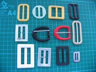 12 vintage and newer buckles various colours, shape and sizes