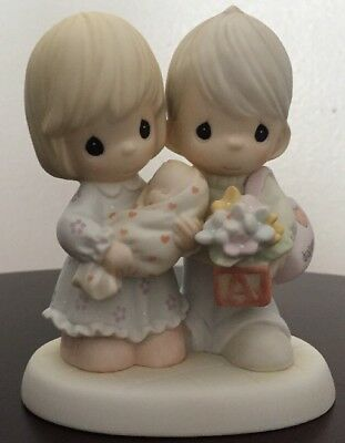 2004 Precious Moments Blessed With A Miracle Boy Girl Baby Porcelain Figurine