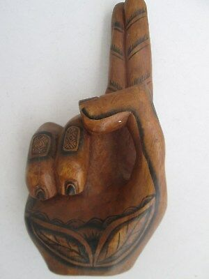 """Solid Hand Carved Wood Statue Figure 10"""" High. Heavy. Made In Indonesia. Nice!!!"""