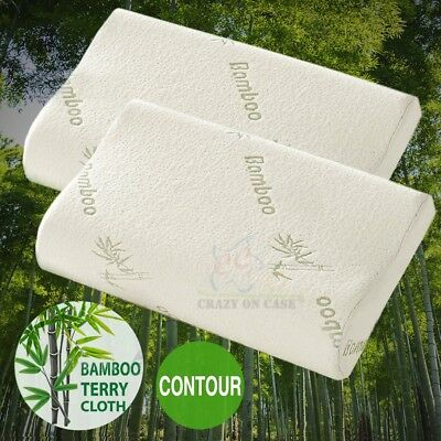 1/2 Pcs Luxury Bamboo Pillow Anti Bacterial Memory Foam Fabric Cover 50 X 30CM