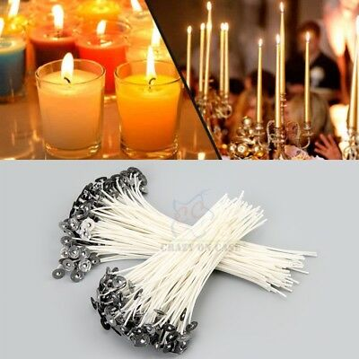 100Pcs Candle Wick Pre Waxed With Sustainers Cotton DIY Candle Making Tools OZ