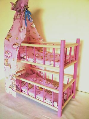 New Wooden Bunk Bed Cot Crib Dolls Toy Sale 20% Off
