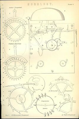 HOROLOGY Escapements 1885 Antique Original Print from Engraving Clocks Time