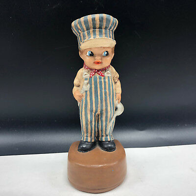 BIG BOY FIGURINE train conductor 1973 chalkware statue sculpture mechanic tools