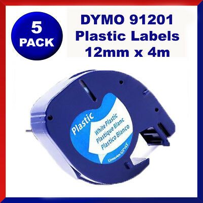 5 Pack DYMO Black on White Plastic LetraTag Labels 91331 91201 Label Tape 12mm