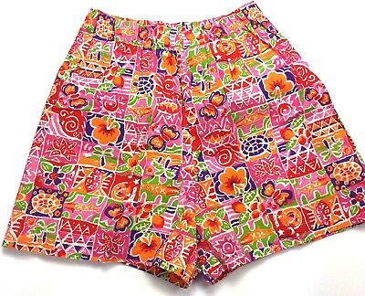 VTG 80s Shorts Womens Medium Large Cotton Colorful Funky Turtle Fish Floral