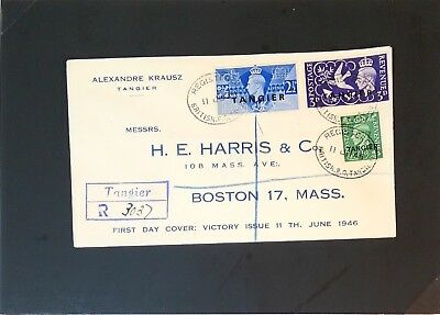 British Offices Tangier 1945 Registered HE Haris FDC - Z2896