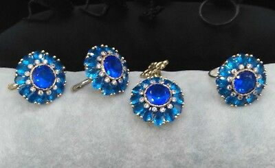 AAA Quality 925 Sterling Silver Jewelry Ceylon Blue Sapphire & Topaz Full Set
