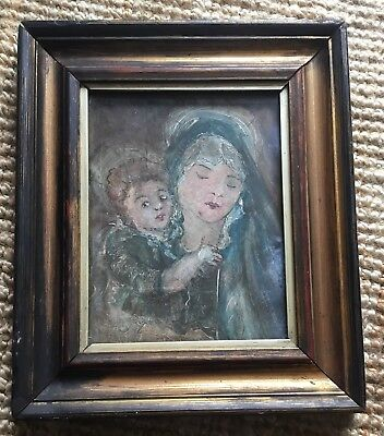 Old Vintage Early Mid 20th Century Oil Gouache Painting Madonna & Child Framed