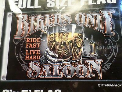 """Bikers Only Saloon"" flag full size 3x5 biker collectible banner"