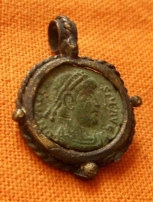 A73. Roman style bronze pendant with authentic Roman coin