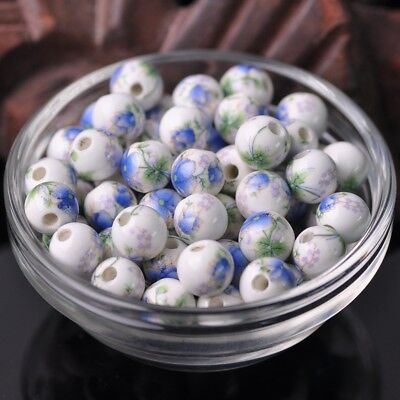 NEW 20pcs 10mm Round Smooth Ceramic Loose Spacer Beads Flower Pattern #29