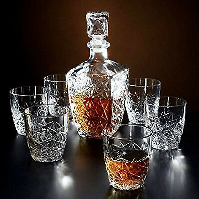 Whiskey Crystal Gles Decanter Set Of 7 Drinking Scotch Bar Gl Rocks Cups