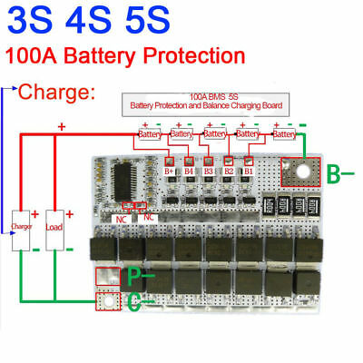 100A BMS 3S 4S 5S CELL LiFePO4 Lithium Battery Protection Balance Charging 3.2V