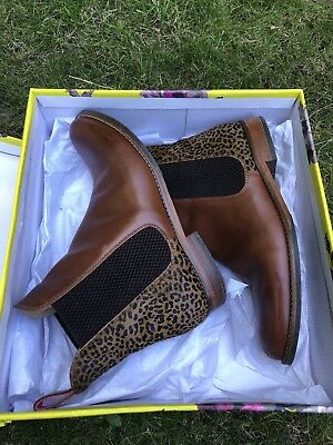 5ec32a083a5 Joules Westbourne Womens Leather Chelsea Boot Ocelot Size 4