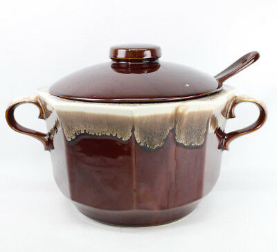 McCoy Pottery # 226 Brown Drip Pottery Ovenproof Soup Tureen with Lid & Ladle